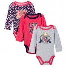 Juicy Couture 3-Pack Long Sleeve Bodysuits Pink Gray Leopard Girls 3-6 Mo New