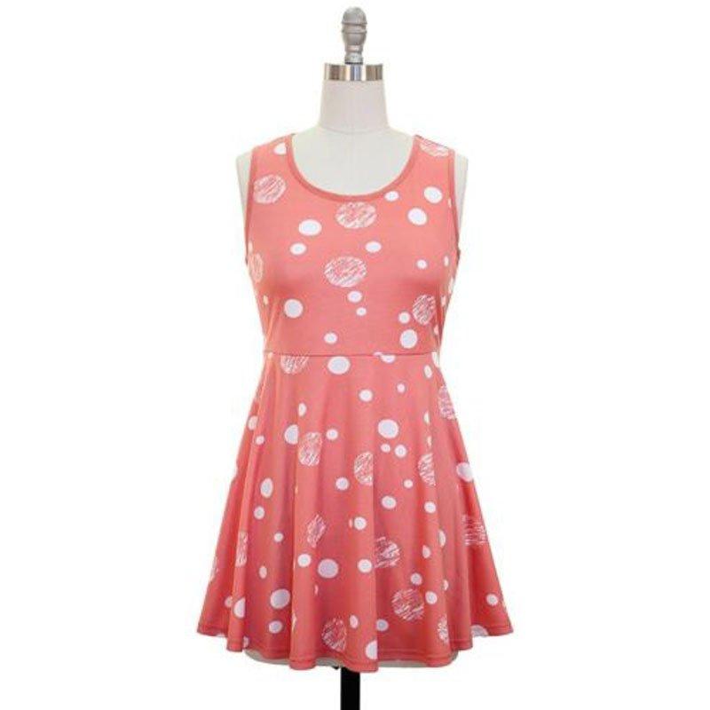 jon & anna Peplum Shirt L Sleeveless Polka Dot Peach Pink Mini Length Juniors 8824 New