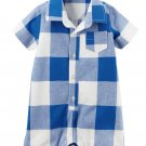 Carters Buffalo Check Romper Blue White Plaid Baby Boys 6 Months Carter's One-Piece