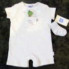 Little Me Sweet Pea Ribbed Romper and Socks Set Baby Boys 9 Months One-Piece