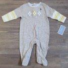 US Polo Assn Layette Gray Long Sleeve Sleeper Footie Pajamas Baby Boys 6-9 Mos
