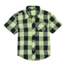 Arizona Plaid Button-down Shirt Black Lime Green Baby Boys 9 Mos New