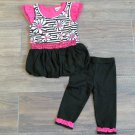 Little Lass Bubble Shirt and Leggings Black White Pink Floral Stripe Girls 2T