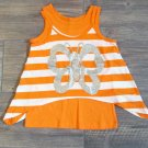 One Step Up Orange Stripe Glitter Tank Top Shirt Set Girls S 4 Butterfly New
