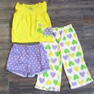 Carters 3-Piece PJs Yellow Purple Green Heart Turtle Shirt Pants Shorts Girls 2T