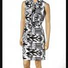 jon & anna S Knit Blouson Dress with Neck Tie Black White Tribal Print Womens 8095
