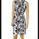 jon & anna L Knit Blouson Dress with Neck Tie Black White Tribal Print Womens 8095