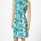 jon & anna M Knit Blouson Dress with Neck Tie Green Tribal Print Womens 8095