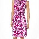 jon & anna S Knit Blouson Dress with Neck Tie Pink Tribal Print Womens 8095