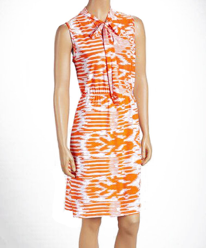 jon & anna L Knit Blouson Dress with Neck Tie Orange Tribal Print Womens 8095