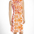 jon & anna L Knit Blouson Dress with Neck Tie Orange Tribal Print Womens 8095