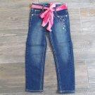 Z. Cavaricci Girls Skinny Jeans with Rainbow Stitching and Pink Scarf Belt Sz 4