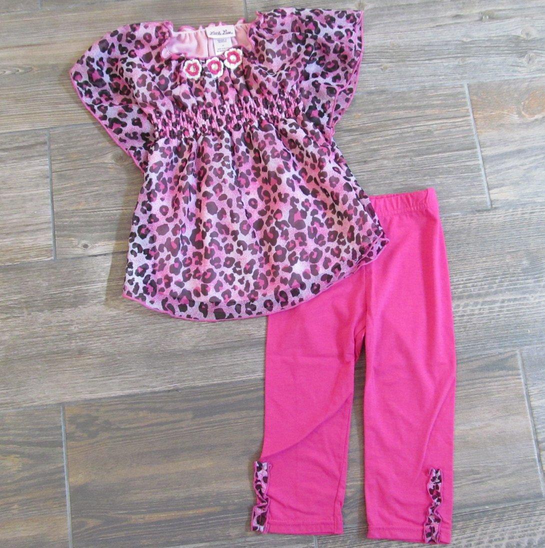 Little Lass 2-Piece Set Pink Leopard Print Dolman Shirt Leggings Girls 2T New