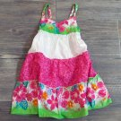 Youngland Tropical Floral Dress Pink Green White Girls 2T Tiered Sundress New