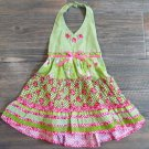 Blueberi Boulevard Woven Halter Dress Girls 2T Tiered Sundress Green Gingham New