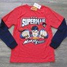 DC Comics Boys size 18-20 Superman Long Sleeve T-shirt Man of Steel Tee Shirt Heather Red