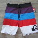 Quiksilver Mens Size 34 Clink Boardshorts Black Purple Blue Stripe Board Shorts