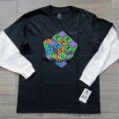 Dc Shoes Boys L Thinking Cubed Tee Shirt Black Long Sleeve T-shirt Boy's Large