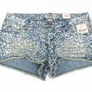 Mudd Juniors size 7 Blue Jean Beach Leopard Print Shorts Frayed Denim Cut-offs