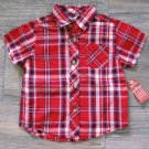 Arizona Plaid Button-down Shirt Red Baby Boys 12 Mos New