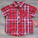 Arizona Plaid Button-down Shirt Red Baby Boys 12 Mos New
