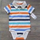 Carters Polo Bodysuit Gray Stripe Boys 12 Months New