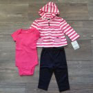 Carters 3-Piece Hoodie Pants Bodysuit Set Girls 9 Months Pink Navy Blue New