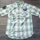 Ecko Boys Green Plaid Button Down Shirt L Youth Large Short Sleeve New
