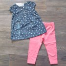 Carter's 2-Piece Girls 2T Tunic and Leggings Set Blue Chambray Pink
