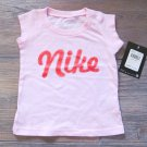 Nike Baby Girls Tee Shirt Pink with Glitter Logo Short Sleeve 6-9 Months New