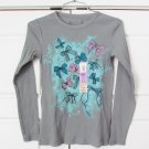 Arizona Girls Gray Long Sleeve Shirt Bow Print Ribbed Medium 10-12
