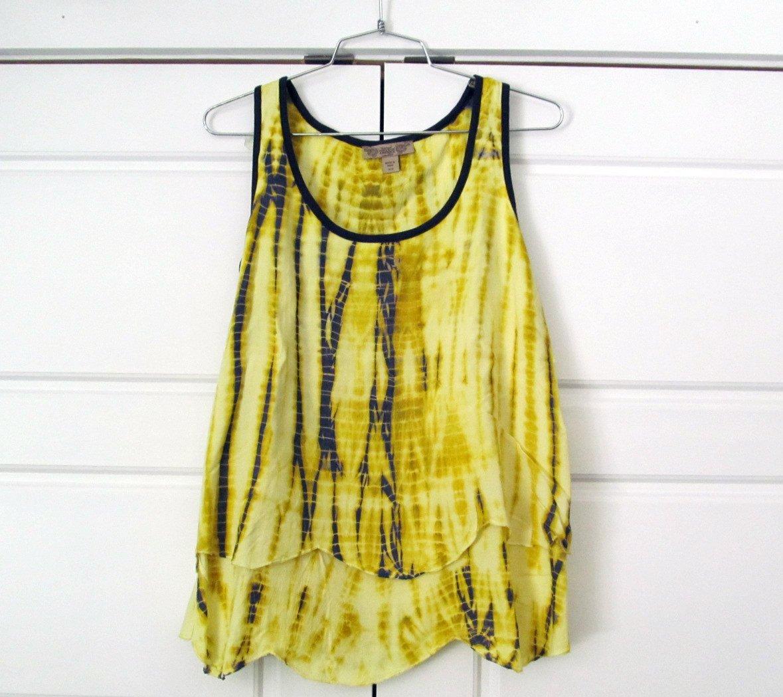 Nine West Vintage America Yellow Tie-Dye Posy Tank Top Shirt Womens XS