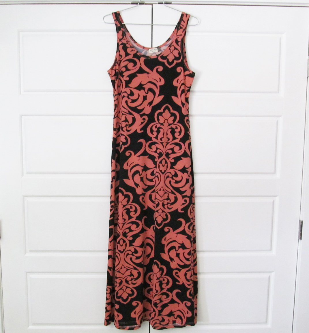 jon & anna Damask Print Maxi Dress Long Black Salmon Pink Womens Large L New