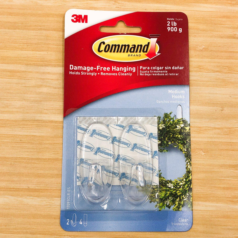 3M Command Hooks Medium Clear 2-Ct