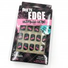 Fing'rs Edge Fashion Nails Short Black Pink Bows Fake Nails