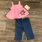 Baby Q 3-6 months Pink Tank Top & Blue Jeans Girls 2-Piece Set