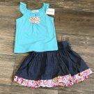 Savannah Girls 24 Months Tank Top & Skirt 3-Piece Set Blue