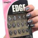 Fing'rs Edge Fashion Nails Short Gray Purple Plaid Fake Nail Kit