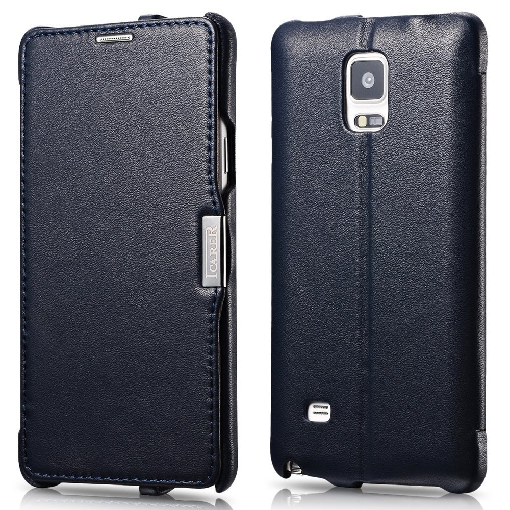 ICARER Genuine Leather Luxury Flip Folio Case with Magnetic Closure for Samsung Galaxy Note 4 (Navy)