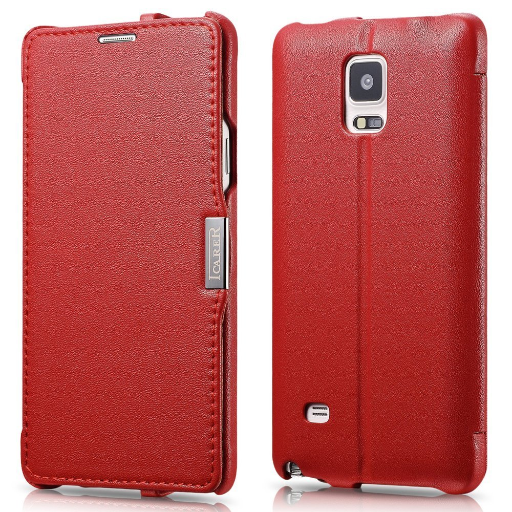ICARER Genuine Leather Luxury Flip Folio Case with Magnetic Closure for Samsung Galaxy Note 4 (Red)