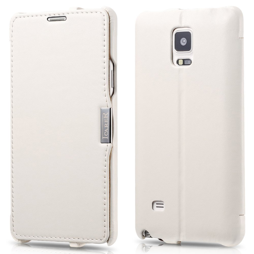 ICARER Genuine Leather Luxury Flip Folio Case [Magnetic Closure] for Samsung Galaxy Note 4 (White)