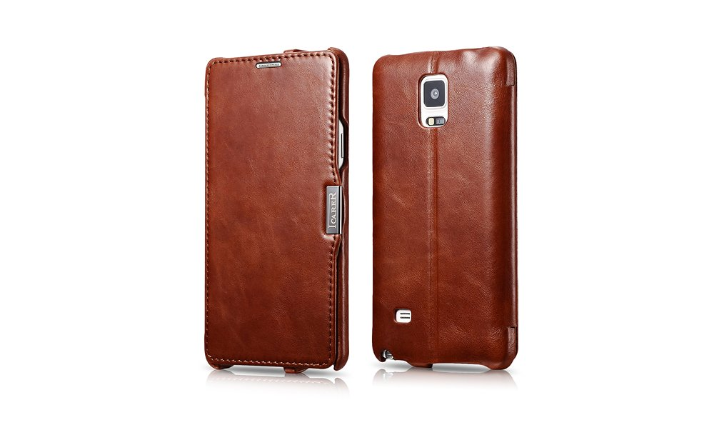 ICARER Genuine Leather Vintage Flip Folio Case for Samsung Galaxy Note 4 (Brown)