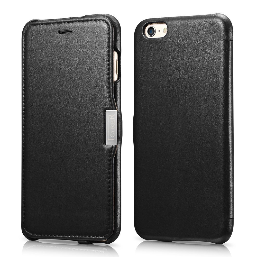 ICARER Genuine Leather Luxury Flip Folio Case with Magnetic Closure for iPhone 6 (Black)