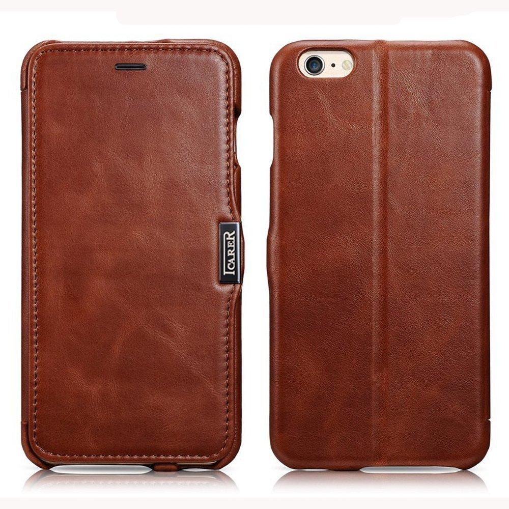 ICARER Genuine Leather Luxury Flip Folio Case [Magnetic Closure] for iPhone 6 Plus/ 6s Plus (Brown)