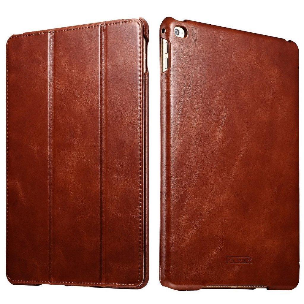 iPad Air 2 & iPad 6 Vintage Genuine Leather Folio Flip Protective Case with Auto Sleep /Wake (Brown)