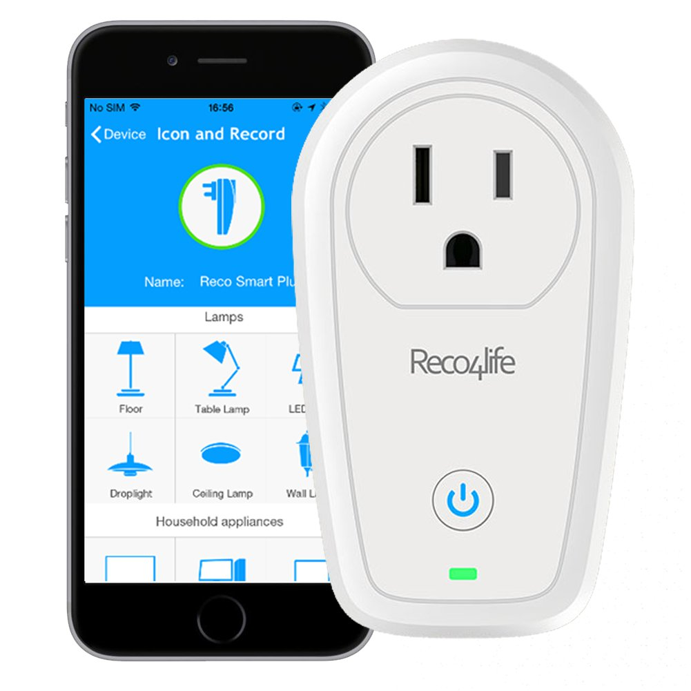 Reco4life Wireless WIFI Remote Control 15A Smart Plug Outlets with Energy Meter for iPhone, Android