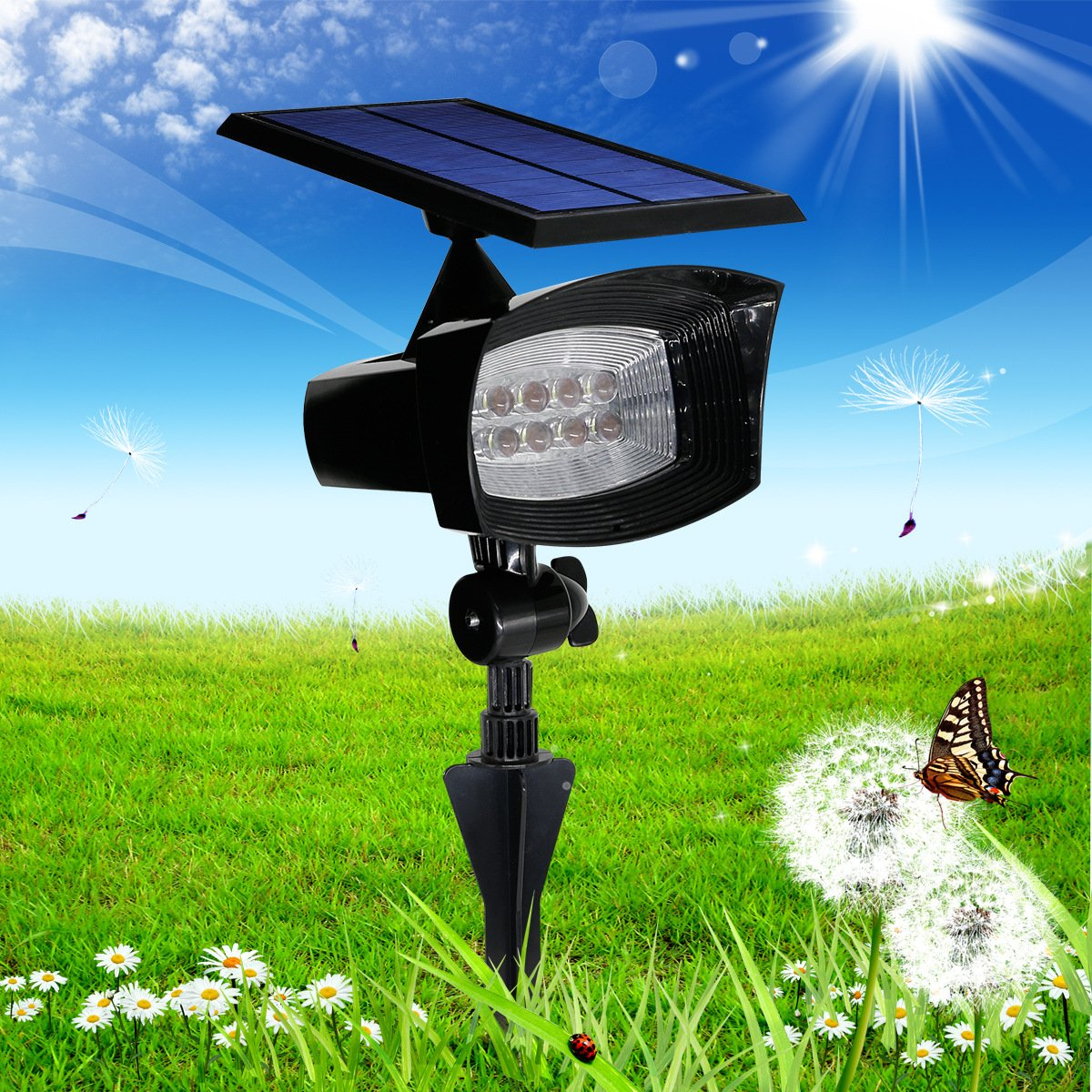 Solar Powered Landscape 8 LED Outdoor Waterproof Spot Light, Wall & In-ground Light for Patio