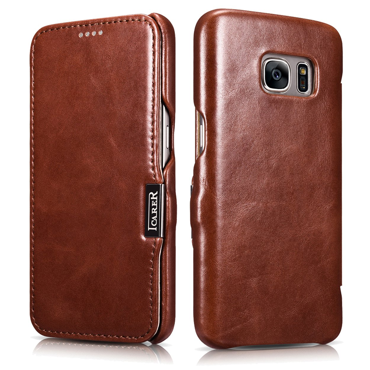 ICARER Genuine Leather Vintage Magnetic Closure Flip Folio Protective Case for Samsung Galaxy S7
