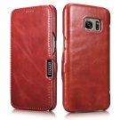ICARER Genuine Leather Vintage Magnetic Closure Flip Folio Case for Samsung Galaxy S7 (Red)