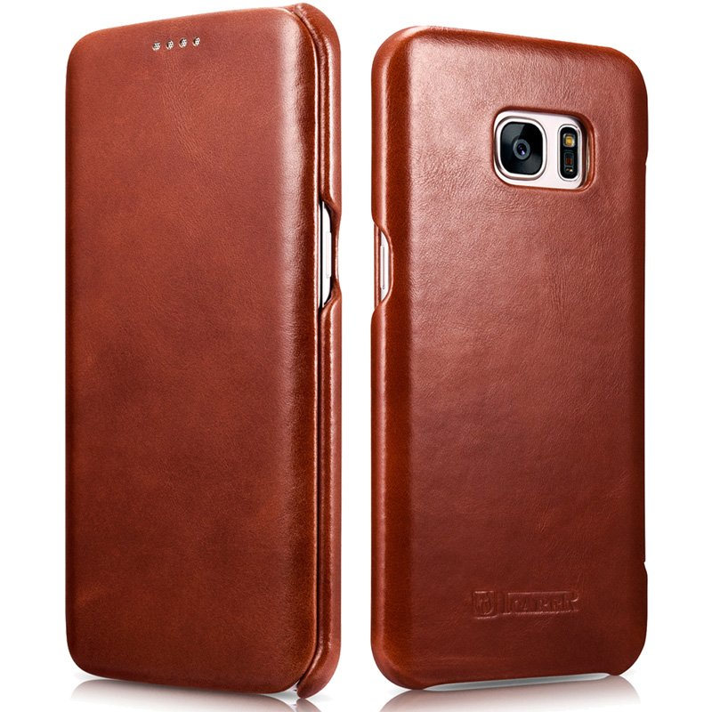 ICARER Genuine Leather Vintage Magnetic Closure Flip Case for Samsung Galaxy S7 Edge (Brown)
